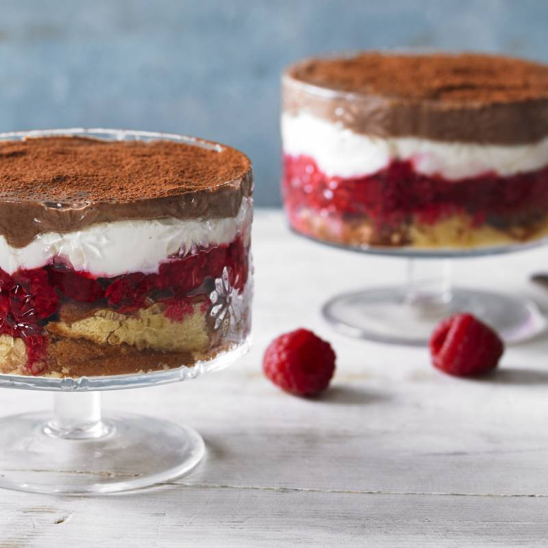 CHOCOLATE, MADELEINE & RASPBERRY TRIFLE